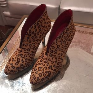 Shoes - Leopard genuine pony hair booties